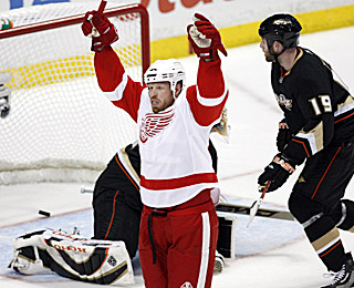 Johan Franzen enjoys the first of his two goals -- both came in the first period -- in the Red Wings victory.