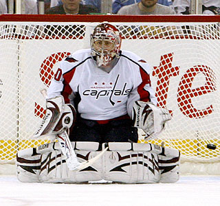 Capitals goalie Simeon Varlamov has a very rough night, giving up a few bad goals.  (AP)