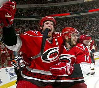 Eric Staal notches his 40th playoff point as a Hurricane, breaking Ron Francis' record.  (Getty Images)