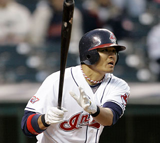 Shin-Soo Choo contributes two of Cleveland's 13 hits and knocks in three runs.  (AP)