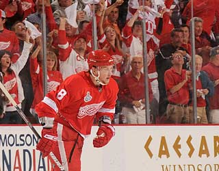 Justin Abdelkader energizes the Detroit crowd even more by scoring the Red Wings' third and final goal.
