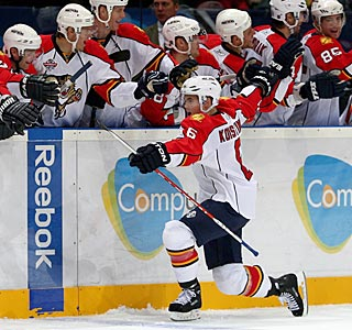 The Panthers bench is a happy place after Ville Koistinen's goal wins it in a shootout.  (Getty Images)