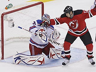 Sean Avery? No, that's Brian Rolston. No matter -- Henrik Lundqvist makes the save.  (US Presswire)