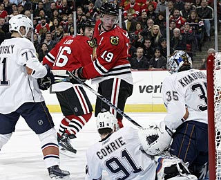 Nikolai Khabibulin stops 34 shots in his first game back in Chicago, but can't prevent the loss. (Getty Images)