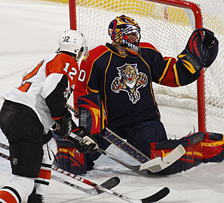 Scott Clemmensen denies Simon Gagne and stops 25 shots in his first start for the Panthers. (Getty Images)