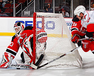Martin Brodeur earns his 102nd shutout, one short of tying Terry Sawchuk's all-time record. (Getty Images)