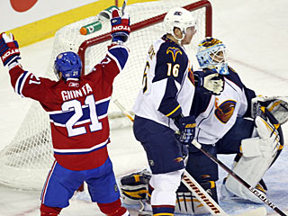 Brian Gionta gives the Habs life in regulation with a goal and he also scores in the shootout. (Getty Images)