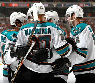 Two goals by Manny Malhotra help the Sharks complete a 4-2 road trip. (Getty Images)