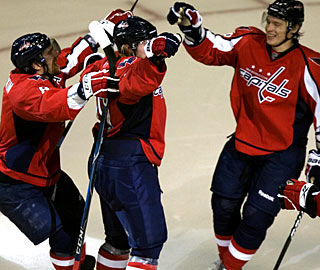 Capitals' triple threat: Ovechkin-Backstrom-Semin combine for nine points against Philly. (Getty Images)