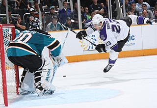 Evgeni Nabokov earns his 23rd career win over the Kings, his most against any opponent. (Getty Images)