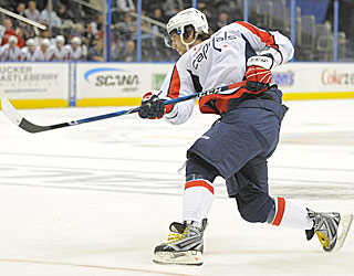 Alexander Ovechkin takes aim and fires on a power play for his first goal of the game. (US Presswire)