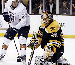 Tuukka Rask turns away 19 shots, including this one, for his second shutout in eight career starts. (AP)