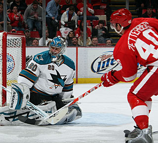 Henrik Zetterberg scores a goal in regulation and also adds the decisive tally in the shootout. (Getty Images)