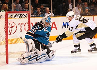 The closest the Penguins come to scoring on Nabokov is when Sidney Crosby hits the post. (US Presswire)