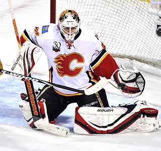 Miikka Kiprusoff's first shutout of the season comes after 25 saves vs. Montreal.  (AP)