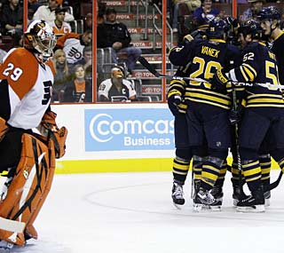 The Flyers cannot prevent the Sabres from ending Philadelphia's five-game winning streak.  (AP)