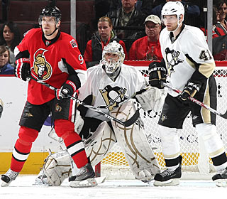 Milan Michalek gets in position to deflect a shot for his 100th goal in the NHL. (Getty Images)