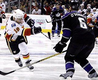 It takes Jarome Iginla just 13 seconds to score his first goal of the game. He finishes with three. (AP)