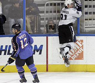 Steven Stamkos jumps for joy after the winning goal, his 15th overall this season. (AP)