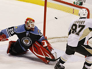 Sidney Crosby jumps on a rebound to score just his second goal in the last 12 games. (AP)