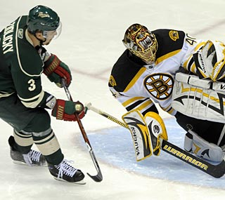 The Bruins only get 16 shots, but goalie Tuukka Rask is good enough to help them earn the win.  (AP)