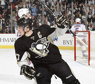 Sidney Crosby (three goals, two assists) finishes one point shy of his career high.  (Getty Images)