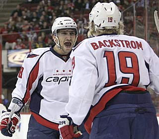 Alexander Ovechkin celebrates Nicklas Backstrom's goal before leaving with an apparent knee injury. (AP)