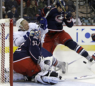 Jason Blake battles all game in front of the net, with the end result being two goals. (Getty Images)