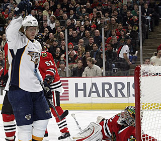 Martin Erat is credited with a goal, his first in six games, after a video review. (Getty Images)