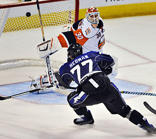 Tampa Bay's Victor Hedman, the second pick in the draft, scores the first goal of his career.  (AP)