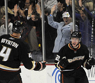 Dan Sexton, who plays in just his third NHL game, celebrates his first goal in the big leagues. (AP)