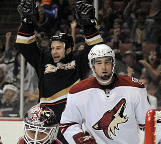 While the Coyotes aren't happy, Kyle Chipchura celebrates the end of his scoring drought.  (AP)