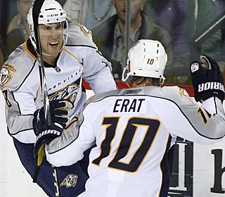 Martin Erat, who starts the scoring for Nashville, also sets up Dave Scatchard for an empty netter. (AP)