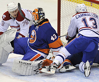 After missing two months with an injury, Andrei Markov (79) scores the first of his two goals. (AP)