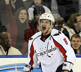 Alexander Ovechkin ups his goal total for the season to 23 with two scores against the Oilers.   (AP)
