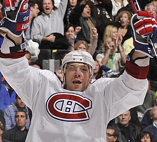 Andrei Kostitsyn needs just 34 seconds in overtime to start celebrating the win for Montreal. (Getty Images)