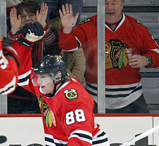 Patrick Kane has five goals in four games, but scores two in a game for the first time this season. (AP)