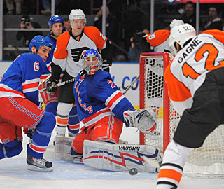 Simon Gagne scores three goals in a game for the third time in his NHL career.  (US Presswire)