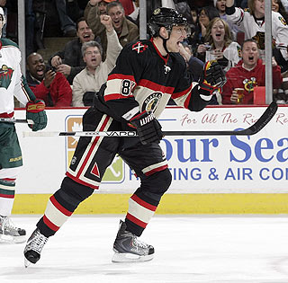Marian Hossa's second straight two-goal effort comes after a scoring drought. (Getty Images)
