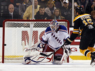 Henrik Lundqvist stops Marco Sturm on a penalty shot and that changes the course of the game. (AP)