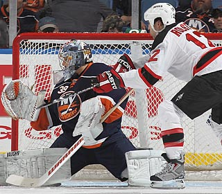 The net is closed on MLK Day: Rick DiPietro turns away a Brian Rolston shot in the shutout.  (Getty Images)