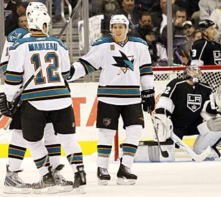 The Sharks have been a nightmare for opposing goalies, scoring 14 goals in their past two games.  (AP)