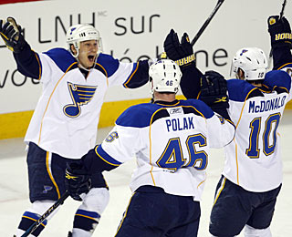 Andy McDonald (10) celebrates his winning goal with David Perron and Roman Polak. (AP)