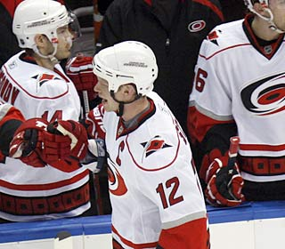 Eric Staal shows why the 'Canes named him captain, scoring a season-high three goals.  (AP)