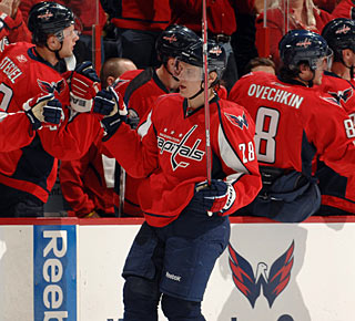 Alexander Semin gets cheers from the bench for his second-period goal. (Getty Images)