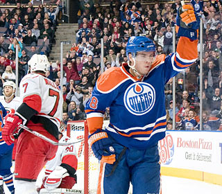 Marc Pouliot (goal, assist) helps the Oilers avoid the worst losing skid in franchise history.  (Getty Images)