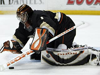 After stopping 33 shots Monday for a shutout, Jonas Hiller follows with 46 saves to beat Detroit. (AP)