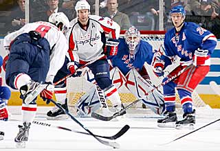 Alex Ovechkin takes precision aim on net and puts in a power-play goal in the second period. (Getty Images)