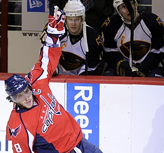 Alexander Ovechkin enjoys his 39th goal of the season after scoring on the power play. (AP)