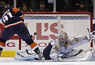 John Tavares, who has only two goals in the last 28 games, converts the winning shootout goal. (AP)